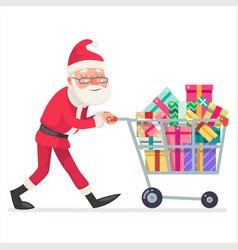 santa claus shopping cart purchase gift flat vector image
