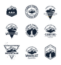 set mountain and outdoor adventures logo vector image