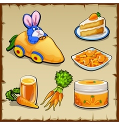 Set of dishes from carrots and toys six items vector image vector image