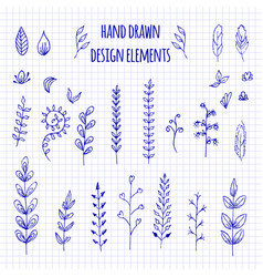 set of hand-drawn doodle elements and seamless vector image