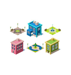 set of modern buildings and urban parks with vector image