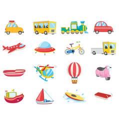 Set of transportation vehicles vector