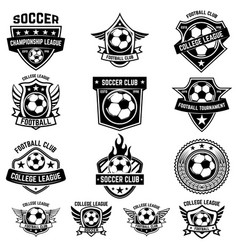 Set of winged emblems with soccer ball design vector