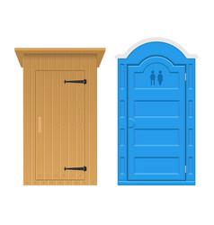 Set wooden and bio outdoor toilet vector