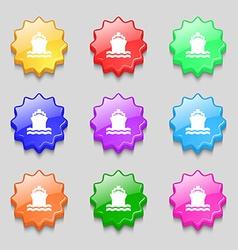 ship icon sign symbol on nine wavy colourful vector image