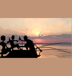 Silhouette a company fishermen having a vector