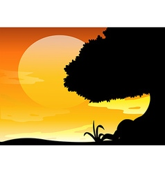 Silhouette scene at sunset vector