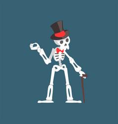 Skeleton gentleman weaing top hat and bow tie vector