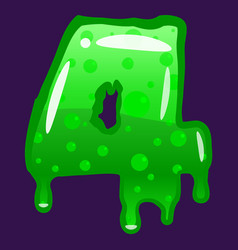 slime font type number 4 latin alphabet green vector image