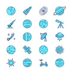 space icons set in colored line style vector image