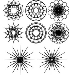 Spirograph shapes flowers and snowflakes vector