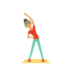 Sportive young woman character exercising girl vector
