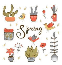 Spring hand drawn collection vector