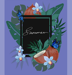 summer hand drawn lettering and tropical plants vector image