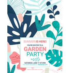 summer party flower invite template vector image