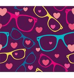 sunglasses and hearts background vector image