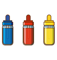 Three bottles colors on white background vector