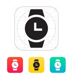 Time on round smart watch icon vector