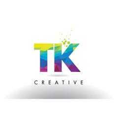 Tk t k colorful letter origami triangles design vector