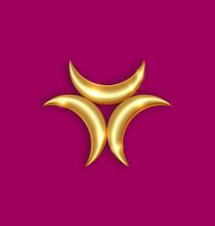 triple golden goddess mystical logo moon phases vector image