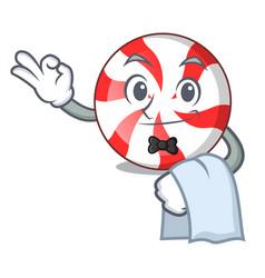 Waiter peppermint candy mascot cartoon vector
