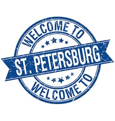 Welcome to St Petersburg blue round ribbon stamp vector