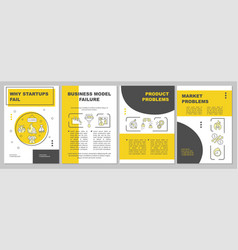 Why startups fail yellow brochure template vector