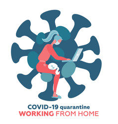 Work from home in covid-19 virus outbreak social vector