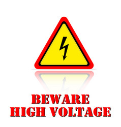 yellow warning beware high voltage icon background vector image