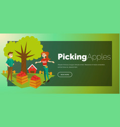 Young gardeners gathering harvest flat poster vector