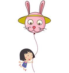A cute little girl holding a bunny balloon vector image vector image