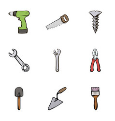 building tools icons set cartoon style vector image