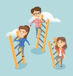 Caucasian business people climbing to success vector