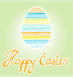 colorful easter egg happy easter inscription vector image