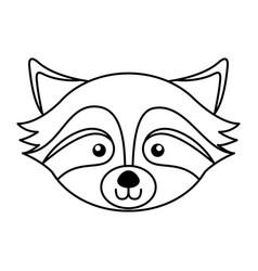 cute raccoon face cartoon vector image