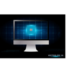 Desktop computer with electronic circuit board vector