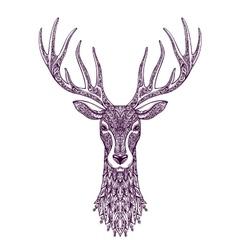 Hand drawn head deer reindeer Christmas xmas vector image