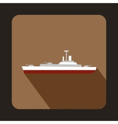 Military ship icon flat style vector image