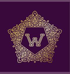 monogram w bage logo text vector image