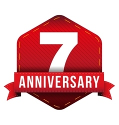 Seven year anniversary badge with red ribbon vector image vector image