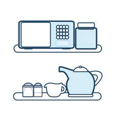 shelves with microwave icon vector image vector image