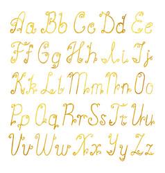 gold brushed latin alphabet vector image