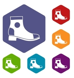 Men boot icons set vector image