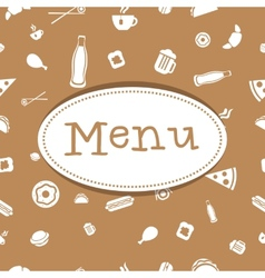 menu cover design with food seamless pattern vector image