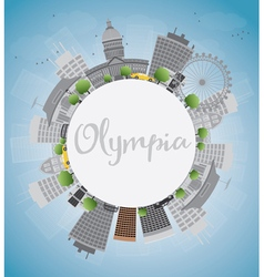 Olympia Washington Skyline with Grey Buildings vector image vector image