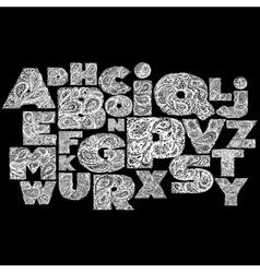 Decorative alphabet with a paisley zen doodle vector
