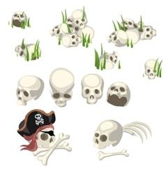 Human skulls and pirate symbols cartoon style vector image vector image