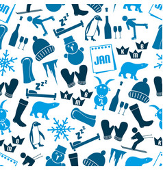 january month theme set of simple icons seamless vector image vector image