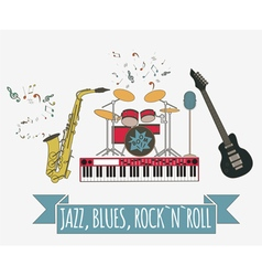 Musical instruments graphic templateJazz blues vector image vector image