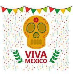 viva mexico skull pennant confetti laurel vector image
